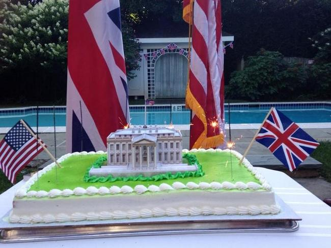 Poor taste ... The UK has been forced to apologise for serving up a cake with sparklers to celebrate the 200th anniversary of British troops burning the White House.