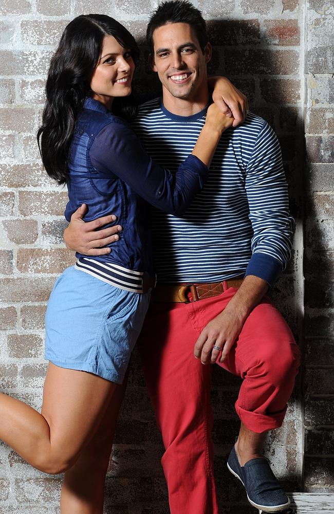 Australian cricketer Mitchell Johnson and wife Jessica Bratich during advertising shoot for Betts shoes at Sun Studios in Sydney.