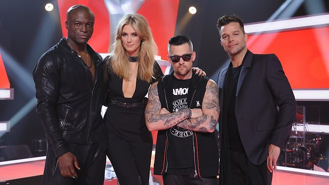 The Voice Australia 2012 mentors (from left) Seal, Delta Goodrem, Joel Madden and Ricky Martin. Supplied by Channel Nine.