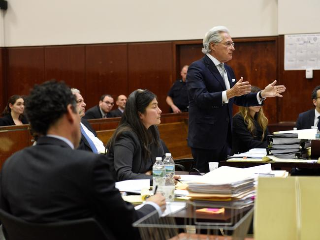 Marc Kasowitz, Mr Trump's personal lawyer, speaks during hearing on the defamation lawsuit at New York County Criminal Court. Picture: Barry Williams/AFP