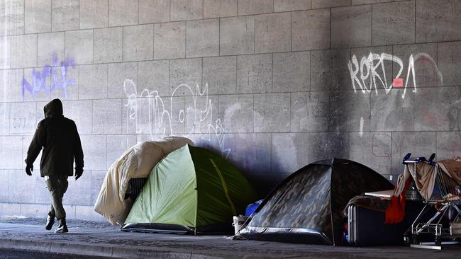 Homelessness has risen in Australia in the past five years, new figures show. Photo: AFP/Tobias Schwarz.