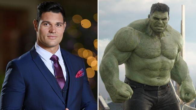 Apollo Jackson, left and Mark Ruffalo as The Hulk in Thor: Ragnarok, right. Picture: Channel 10; Marvel