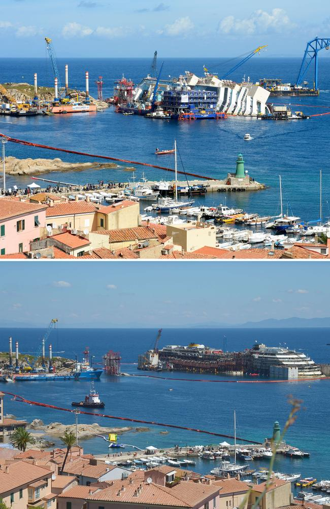 The wreck of the Costa Concordia cruise ship before and after being refloated.