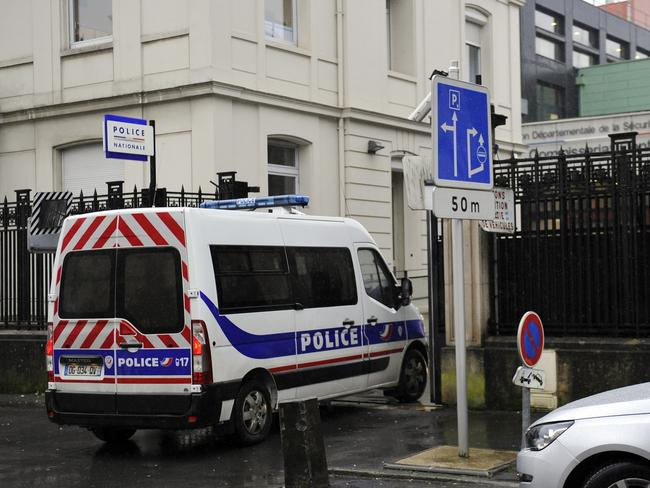 A police truck arrives at the police station of Charleville-Mezieres, northeastern France, where the youngest of three men the police were looking for turned himself in. Picture: Francois Lo Presti