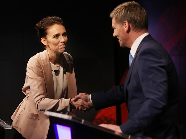 Jacinda Ardern and Mr English at a leaders debate during the election campaign.