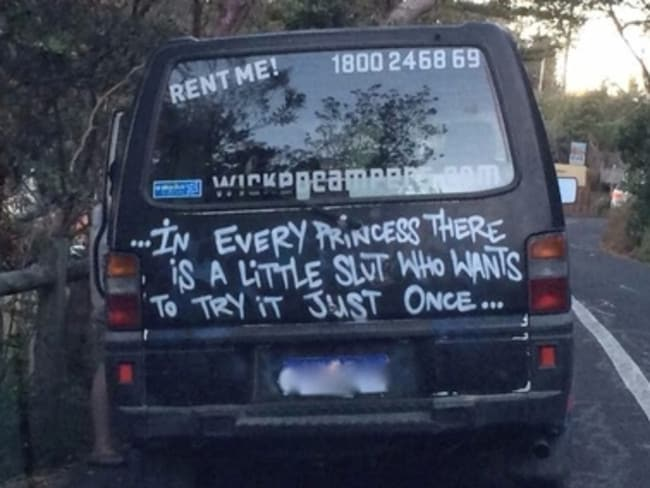 The offending slogan on a Wicked campervan.