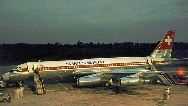 A Swissair aircraft at Manchester airport during a stop en route to Zurich in 1964. Picture: RuthAS/Wikimedia Commons