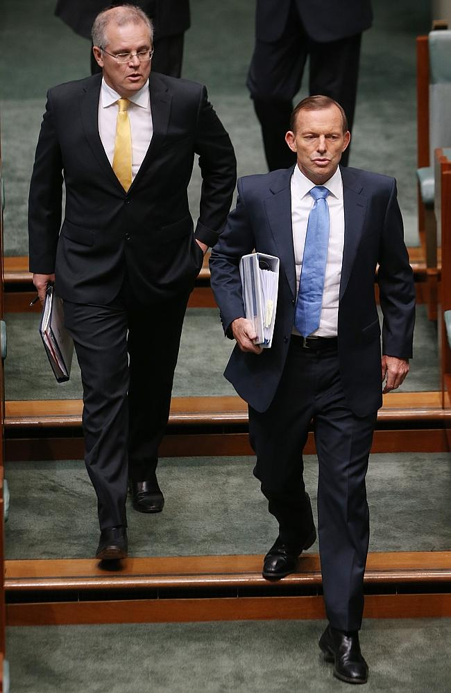 Is he the man in waiting ... Prime Minister Tony Abbott with the Minister for Immigration and Border Protection Scott Morrison.