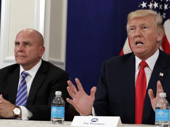 President Donald Trump accompanied by his National Security Adviser H.R. McMaster. Picture: AP Photo/Evan Vucci