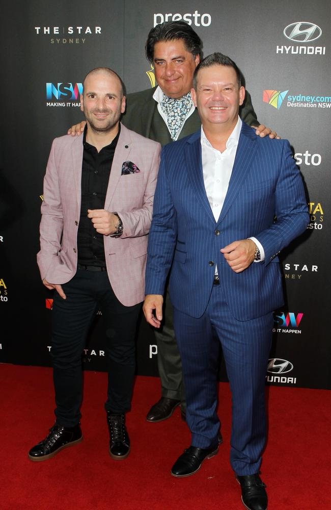 George Calombaris, Matt Preston and Gary Mehigan arrive ahead of the 5th AACTA Awards Presented by Presto at The Star on December 9, 2015 in Sydney, Australia. Picture: Christian Gilles