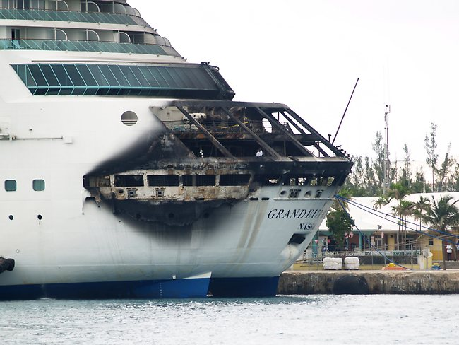 Royal Caribbean said the fire occurred while on route from Baltimore to the Bahamas. Picture: AP