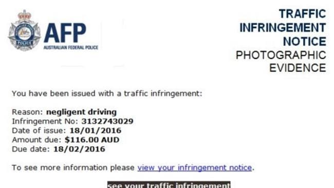 A fake traffic violation notice, where victims receive emails purporting to be from the Australian Federal Police, has fooled many.