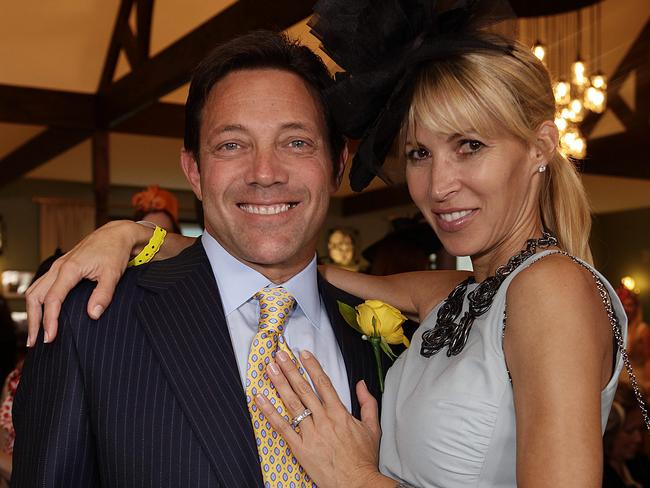 Society player ... Jordan Belfort with Anne Koppe at the 2012 Melbourne Cup. Picture: Julie Kiriacoudis