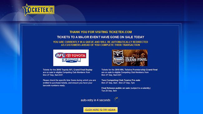 AFL and NRL Grandfinal tickets go on sale, Ticketek is down. Again. Picture: Supplied