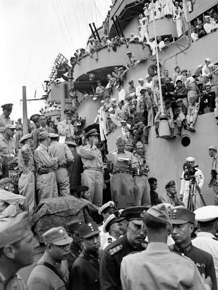 The USS Missouri in Tokyo Bay for formal Japanese surrender ceremony that marked the end of World War II.