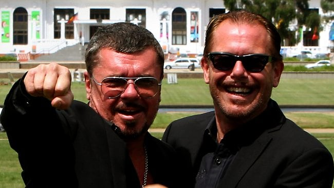 INXS band members Tim Farriss and Kirk Pengilly. Picture: Kym Smith