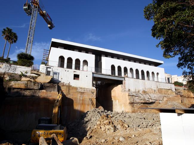 Casino billionaire James Packer and former wife Erica's Vaucluse mansion La Mer (above) under construction.