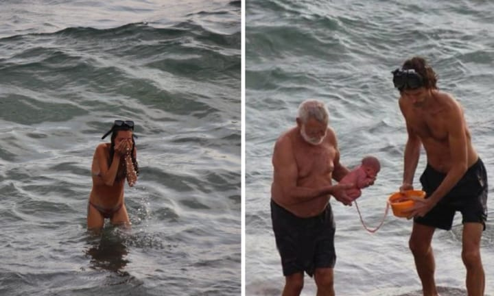 The amazing moment a woman gives birth in the Red Sea