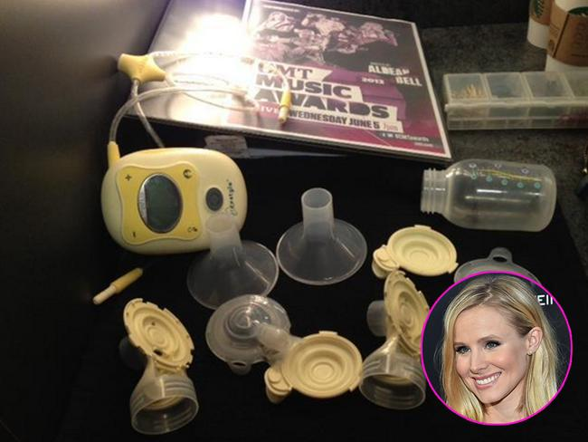 "Kristen Bell tweets in June 2013: ""My new backstage beauty routine: #pumpit #pumppumpitup #CMTAwards @CMT"". Picture: Twitter/Getty"