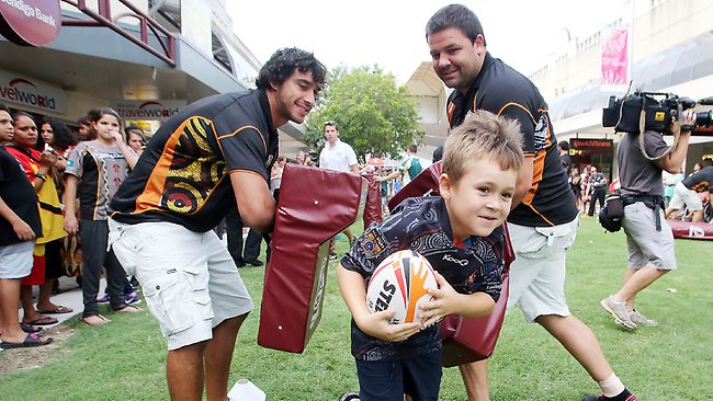 Johnathan Thurston and George Rose at an All Stars fan day in Ipswich earlier this year. Picture: Glenn Barnes