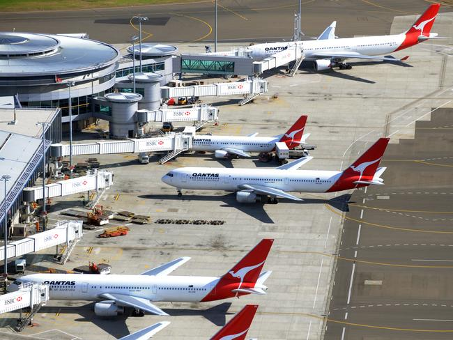 An aerial view of the Domestic terminal of Sydney Airport.