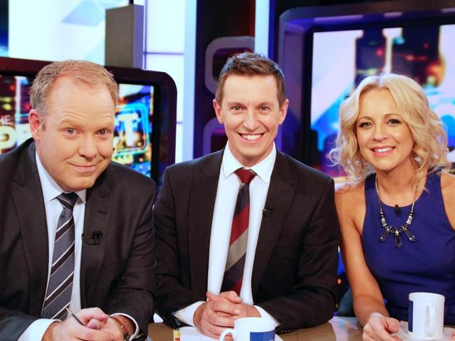 Old crew ... The Project co-hosts Pete Hellier, Carrie Bickmore and Rove McManus who has just left. Picture: Channel Ten