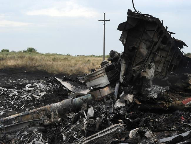 The wreckages of the Malaysia Airlines flight MH17. Picture: AFP Photo/Dominique Faget