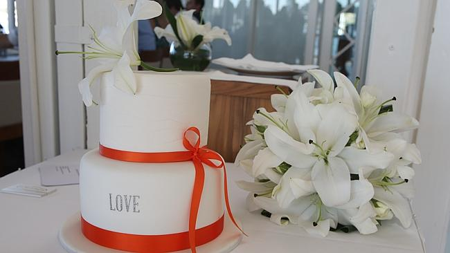 The wedding cake to celebrate Stacey and Bevan's big day