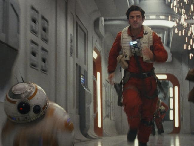 A scene from film Star Wars: The Last Jedi with BB-8 and Poe Dameron (Oscar Isaac) Picture: Film Frames Industrial Light & Magic/Lucasfilm. ©2017 Lucasfilm Ltd
