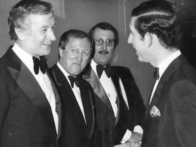 Famous name in Australian entertainment ... Prince Charles meets Stuart Wagstaff, Graham Kennedy and 'Ugly' Dave Gray.