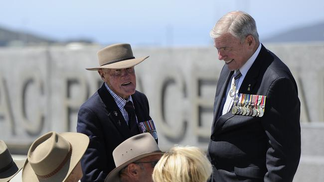 Veteran discussions ... RSL National President Ken Doolan chats with Eric Maxton and other veterans at the Albany centenary event. Picture: Daniel Wilkins.