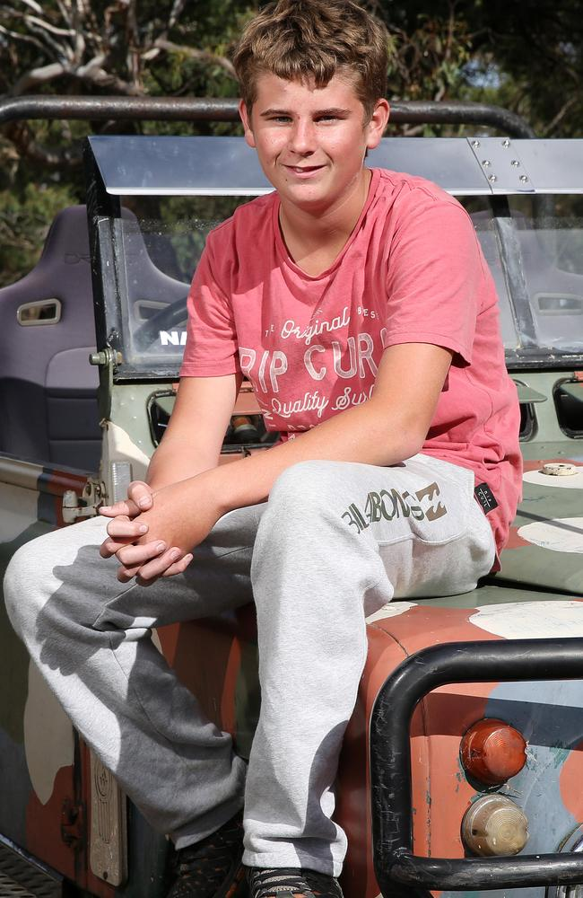 Sam Box, 15 was surprised to find a koala in the driver's seat of his car at his Maude property. Picture: Peter Ristevski