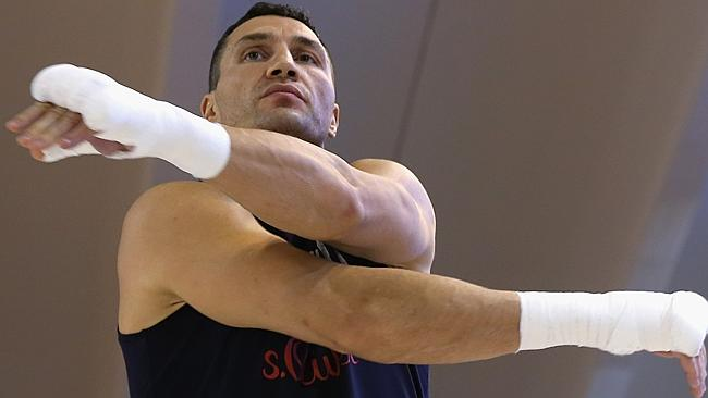 Wladimir Klitschko warms up for a training session ahead of his fight against Alex Leapai.