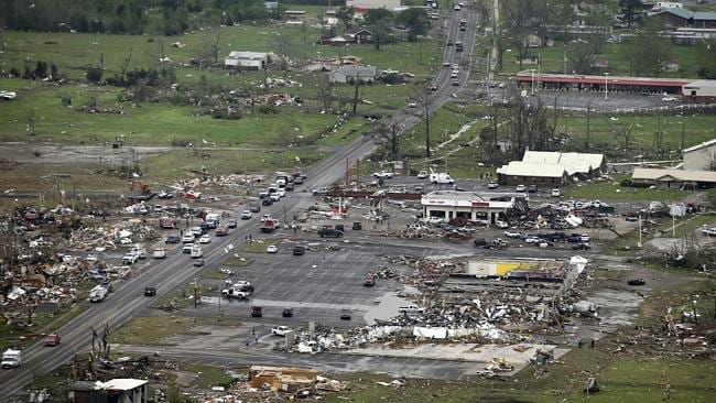 In this aerial photo, destroyed businesses along U.S. Highway 64 sit among rubble in Vilonia, Arkansas, Monday, April 28, 2014. Picture: AP