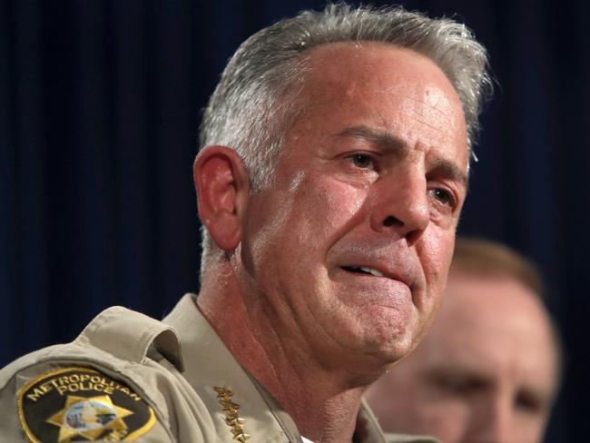 Clark County Sheriff Joe Lombardo said police are still trying to work out whether Stephen Paddock had an accomplice. Picture: Steve Marcus/Las Vegas Sun via AP.