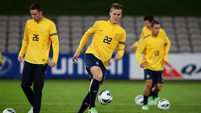 Michael Thwaite, at Socceroos training this week, is now a regular in the squad.