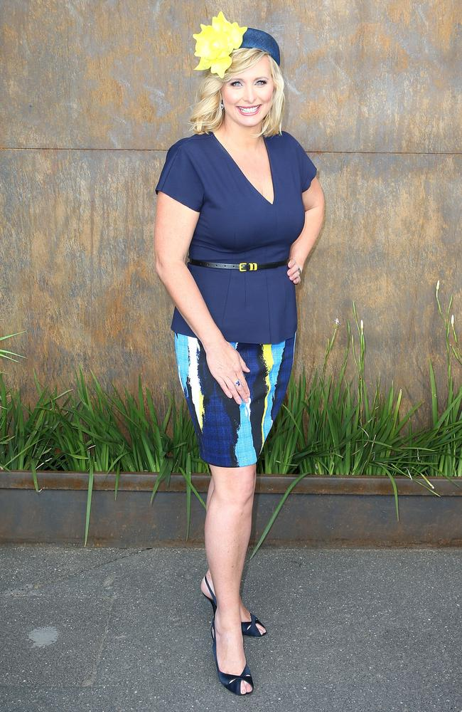 Johanna Griggs opts for a navy ensemble for the Melbourne Cup. Picture Scott Barbour/Getty Images.
