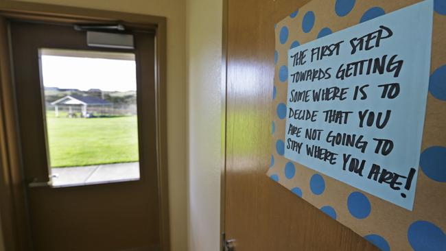 A motivational sign in a living unit on McNeil Island. Picture: Ted Warren