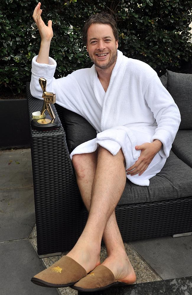 Lost a Logie ... Hamish Blake with his Gold Logie trophy, the morning after the 2012 Logie Awards when he lost his Silver one.