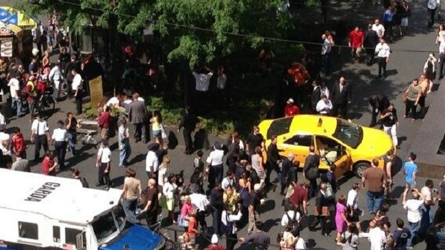 A taxi has jumped the curb in New York City, running into a British tourist who lost a leg. Picture: Twitter