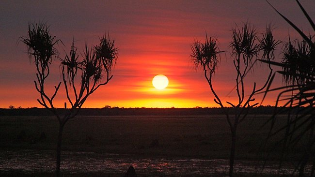 Sunset at Wildman Wilderness Lodge in the Northern Territory. Picture: Supplied