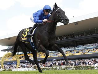 Spectroscope ridden by William Buick wins the Schweppes Handicap race during Ladies Day at Rosehill Racecourse in Sydney, Saturday, March 11, 2017. (AAP Image/David Moir) NO ARCHIVING, EDITORIAL USE ONLY