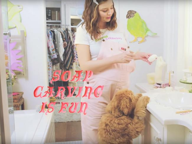 Miranda Kerr rethinks maternity fashion in this whimsical Vogue video, shot at her home with The Selby. Picture: Todd Selby/Vogue