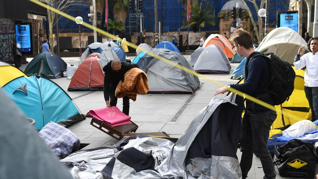 Finally ... Tent City is coming down. Picture: David Moir