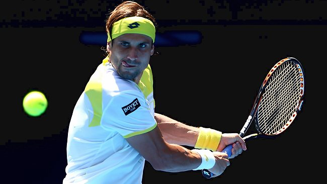 David Ferrer in action on Rod Laver Arena yesterday.