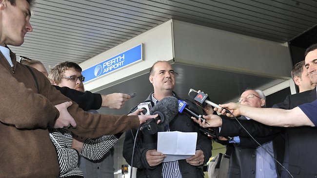 Sacked Australian cricket coach Mickey Arthur reads a prepared statement to media in Perth on Sunday. Picture: Kerris Berrington