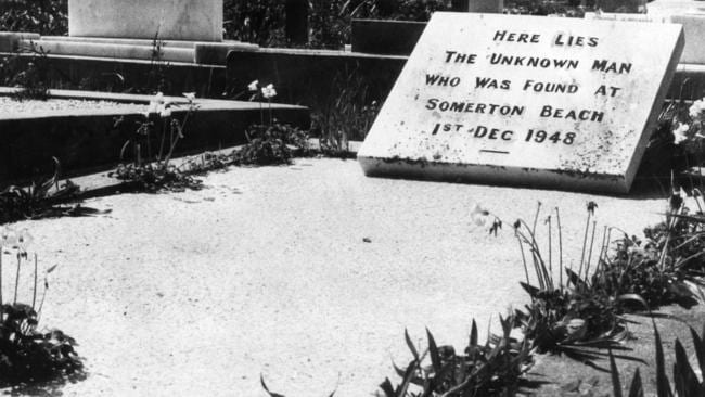 An unidentified man was found dead on Somerton Beach, SA, in 1948. This is a November 1973 photograph of the grave where the mystery man was buried.