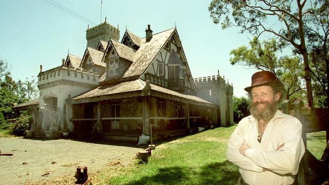 Brian Rumble outside his Rumble Castle at Waterford in the 1990s