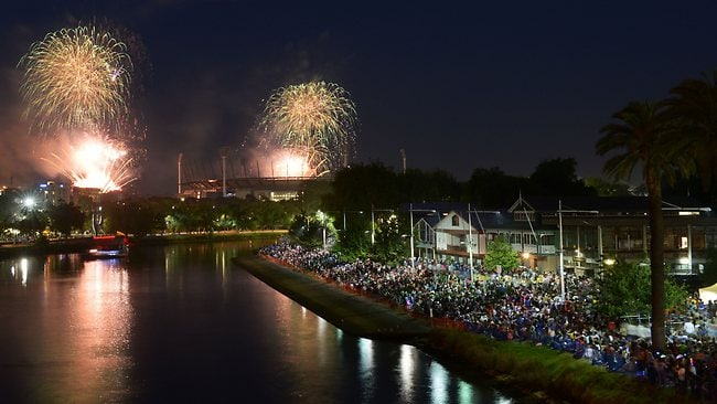 Early start in Melbourne... The 9.30pm fireworks over The Melbourne Cricket Ground and the Yarra River.