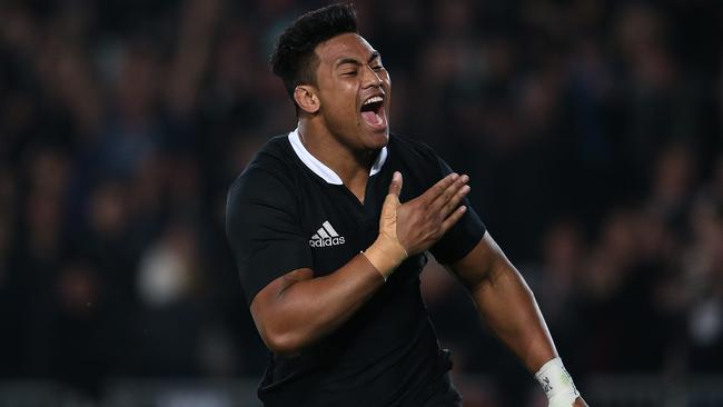 Julian Savea celebrates his try against the Wallabies at Eden Park.